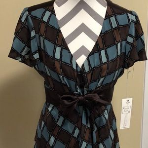 NWT Nanette Lepore Silk Provence Plaid Top Size 12